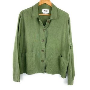 Flax Green Linen Button Down Shirt